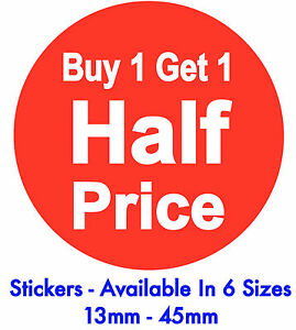 0f9077b277 Buy One Get One Half Price Bright Red Promotional Stickers / Labels ...