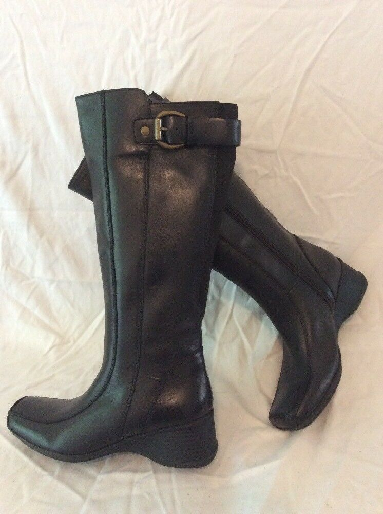 Clarks Black Mid Calf Leather Boots Size 3D