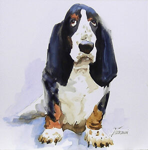 Acuarela * watercolor * Perro Basset Hound * Pintura original