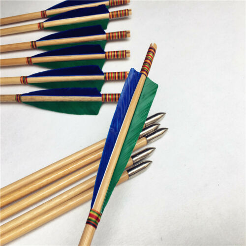 12pk green/&blue feather wooden arrows longbow arrow for recurve bow long bow