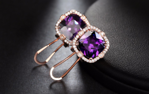 4Ct-Cushion-Cut-Amethyst-Diamond-Clip-On-Halo-Stud-Earring-14K-Rose-Gold-Finish