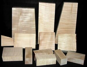 40 lb Pack - Highly Figured Curly Maple Pieces - Wood Turning, Cues, Carving
