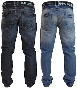 Mens-Crosshatch-Straight-Leg-Jeans-Regular-Fit-Denim-Trousers-Free-Canvas-Belt