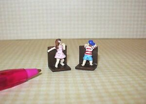 Miniature-Resin-Children-039-s-034-Hide-and-Seek-034-Bookends-DOLLHOUSE-Miniatures-1-12