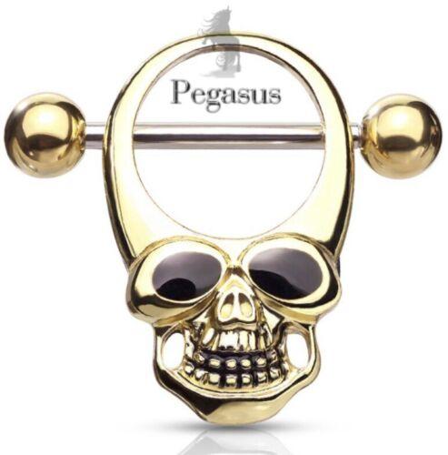 Nuevo Y Sellado-oro de calidad cráneo Pezoneras Barbell Barra