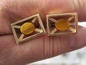 Vintage-Gold-Tone-Cufflinks-with-Tiger-039-s-Eye-Stones