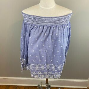 Crown-amp-Ivy-Off-the-Shoulder-Blouse-Women-039-s-Blue-Striped-Size-Large