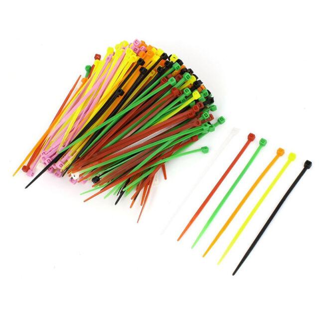 ueber 400 Stk 3 mm x 100 mm Kunststoff Selbsthemmung Kabelbinder Farbe I7J7