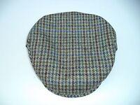 Xxxl Irish Brown Green Blue Houndstooth Tweed Cap Hanna Hat Flat Wool 8 1/4