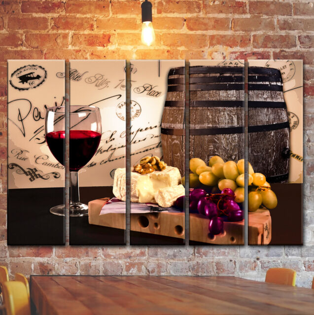 LARGE Wine Kitchen Wall Art Picture Decor With Barrel Still Life Canvas  Print