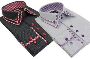Da Uomo Italiano Doppio Colletto A Bottone Camicia Bianco Nero Smart Polka Dot calzata su misura  </span>