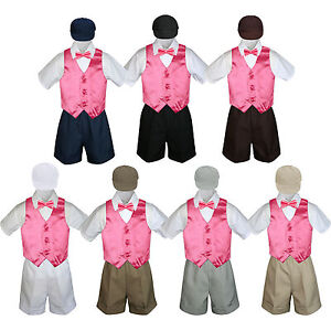 5pc Baby Boys Toddler Formal Vest Shorts Gray Suit Satin Vest Long Tie Set S-4T
