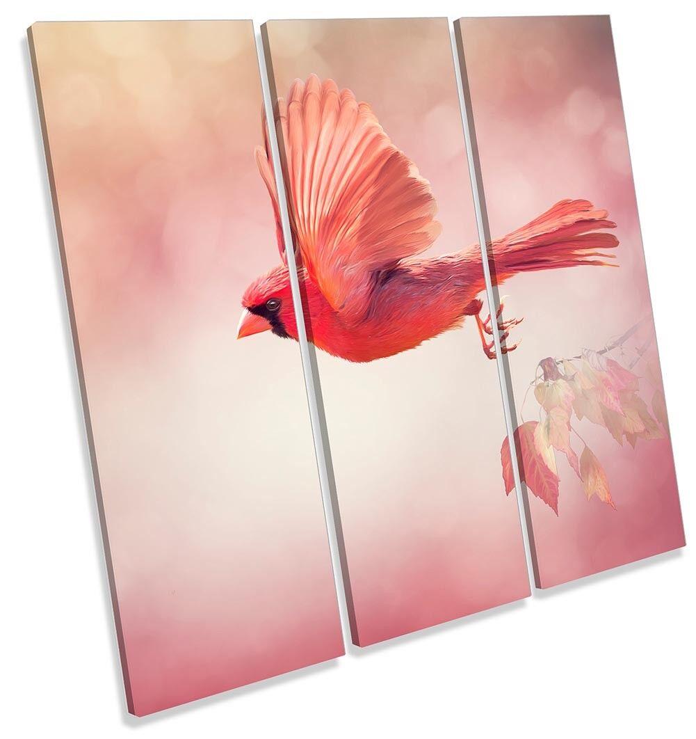 rosso BELLA BIRD BIRD BIRD TREBLE TELA parete opera d'arte art print a6b71c