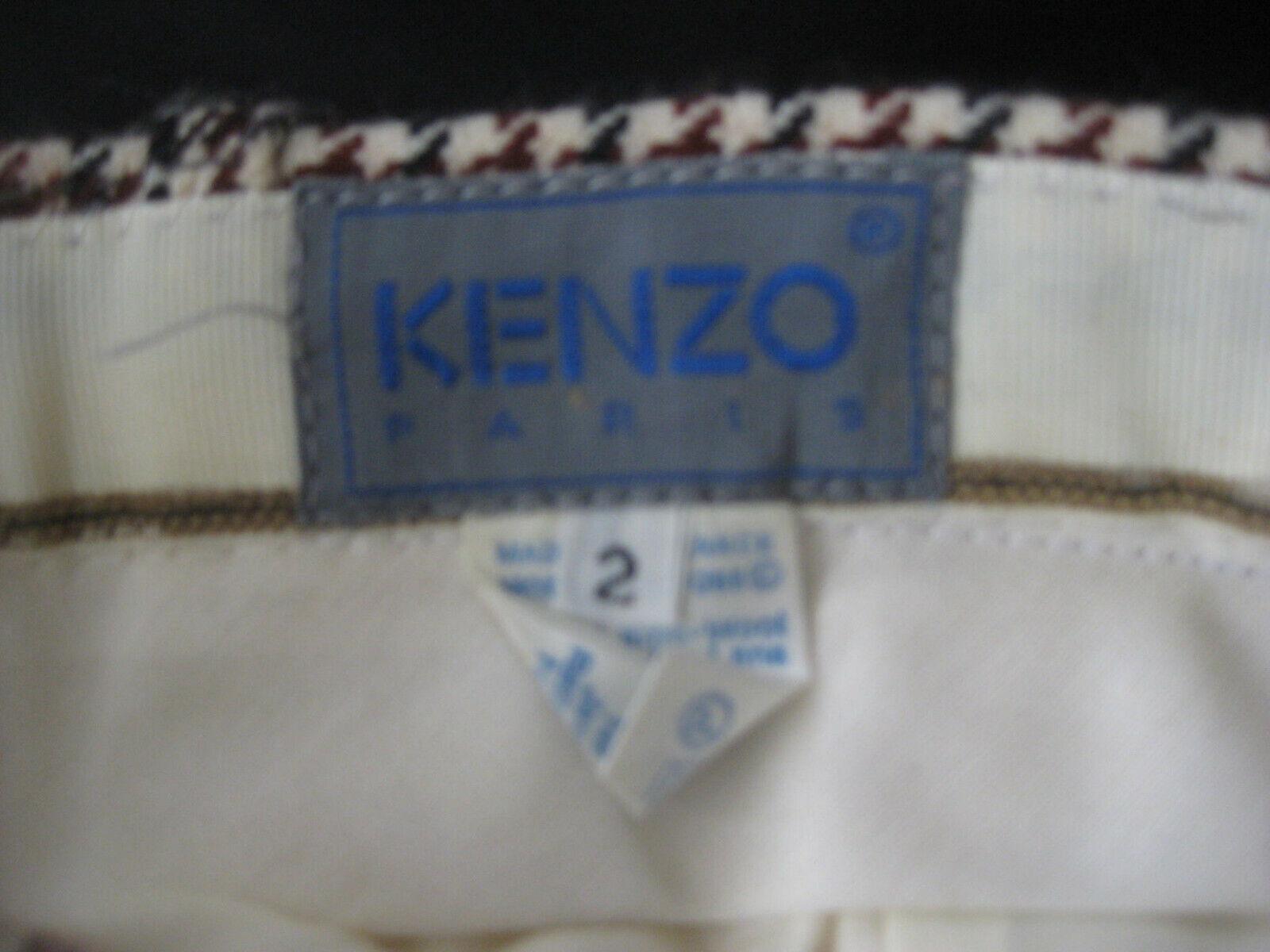 1980s KENZO Paris Wool HOUNDSTOOTH PLAID Pleat Fr… - image 5