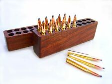 20 Rd Walnut Wood Ammo Box / Loading Block 25-06~30-06~270~280~8mm Remington win