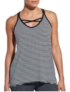 2092f50a8373e NEW CALIA Women s Flow Strappy Front Neck Striped Tank Top NWT