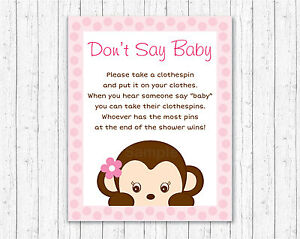 graphic regarding Don T Say Baby Game Printable identified as Information regarding Lady Monkey Dont Say Boy or girl Youngster Shower Recreation Printable