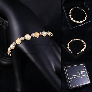 Armband-Armschmuck-Steinchen-Bracelet-Gelbgold-pl-Swarovski-Elements-Etui