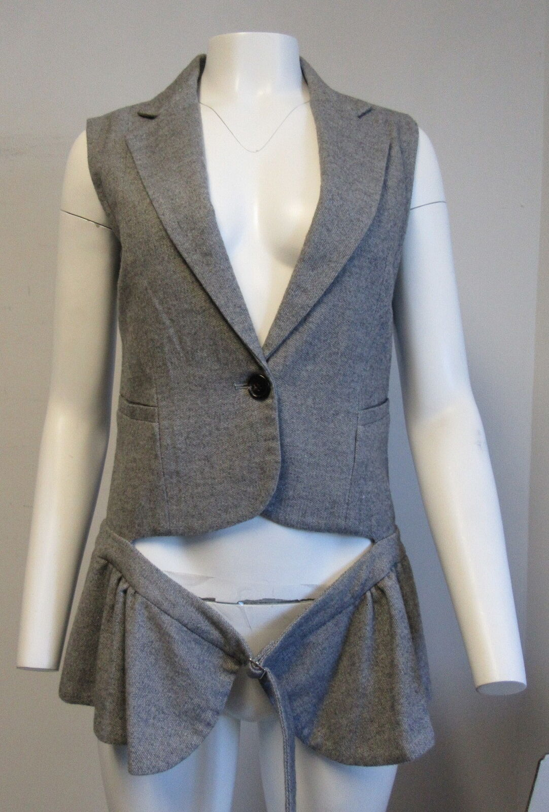 ALICE RITTER grey wool vest with belted peplum SZ 4