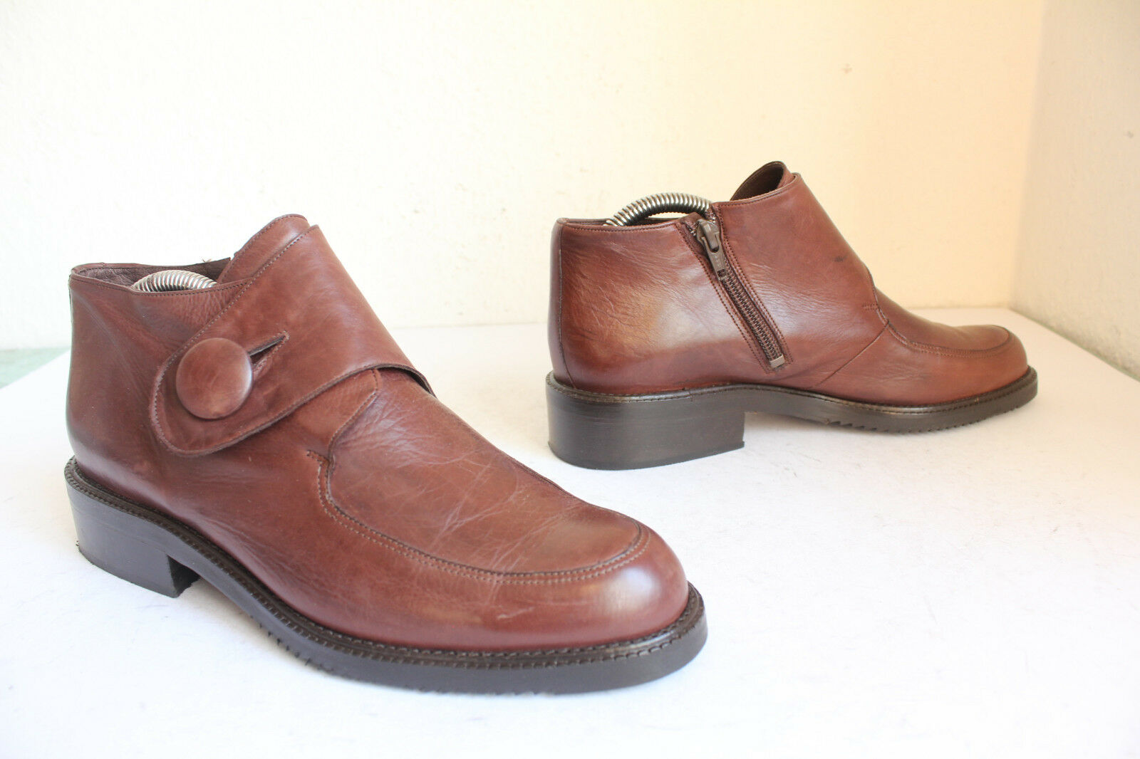 Vintage Andiamo elegante botines plenamente cuero genuino marrón eu:39, 5 Made in Italy