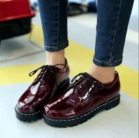 New Womens Patent Leather Oxfords Flats Lace Up Ankle Boots Punk Creeper Shoes