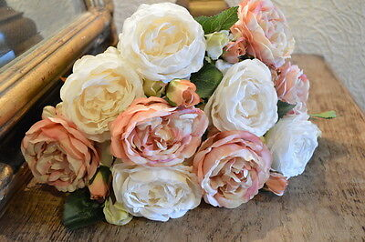 Bunch of 7 Realistic Antique Pink & White Roses, Artificial Faux Silk Flowers