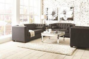 Cairns Stationary Charcoal Finish Sofa Love Tufted Back Lumbar Pillows 2pc Set