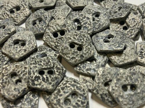 Vintage 5 Sided Pentagon Shape Cast Metal Button Antique Silver 15 19 25mm 2hole