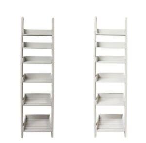 big sale cf19f b52c1 Details about Stylish Aldsworth Wooden Shelf Ladder Outdoor Storage  Organizer White Or Grey