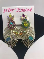 b1aff7e8aa0a5 Betsey Johnson Pink White Flower Jacket Crystals MINT Green Earrings ...