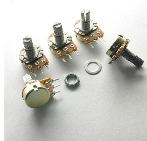 5pcs 20K Ohm B20K Knurled Shaft Linear Rotary Taper Potentiometer