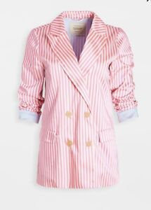 Scotch-amp-Soda-Maison-Scotch-Say-O-Nana-Pink-Striped-Long-Blazer-Jacket-Size-XL