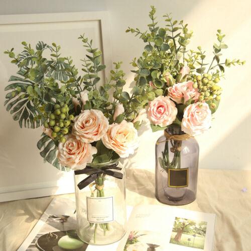 SN/_ Artificial Flower Rose Eucalyptus DIY Garden Party Wedding Craft Decor Spl