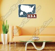"USA United States of America USA Grunge Wall Sticker Room Interior Decor 25""X20"""