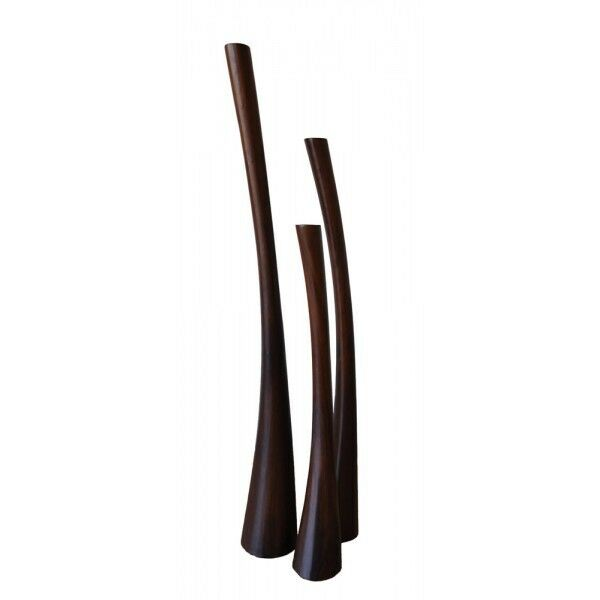 Teakholz Teelichthalter braun 3er Set Teak Design Deko 3-er 100 125 150 cm