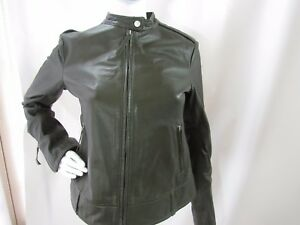 Brogden Womens Dark Green Leather Long Sleeve Jacket Size M Ebay