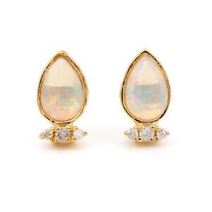 0-42ct-Opal-Gemstone-Diamond-Stud-Earrings-Pave-Solid-14k-Yellow-Gold-Jewelry