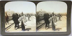 Turchia-Sur-Le-Pont-Da-Galata-Foto-Stereo-Analogica-Vintage-1901