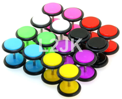 Fake Ear Plugs Cheater Illusion Studs 16G Black White Red Purple Yellow Blue