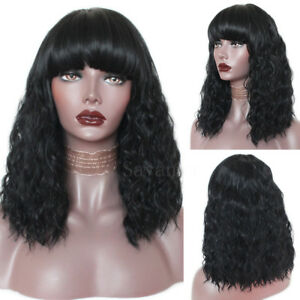 Black Synthetic Wig Loose Curly Afro African American Wigs Bob Style ... be6121d54f