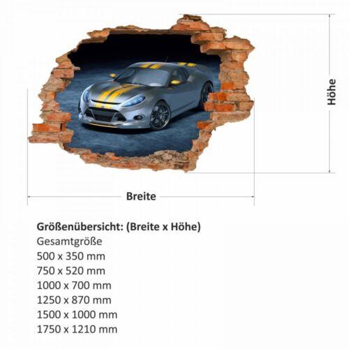 nikima 108 Wandtattoo Rennwagen Sportwagen silber gelb Loch in der Wand