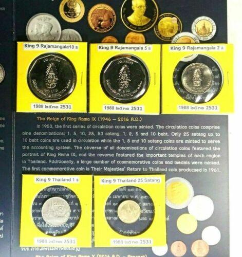 Thailand Commemorative1988 Rajamangala Bath Rama 9 Lot 5 Coins New Occasion Unc
