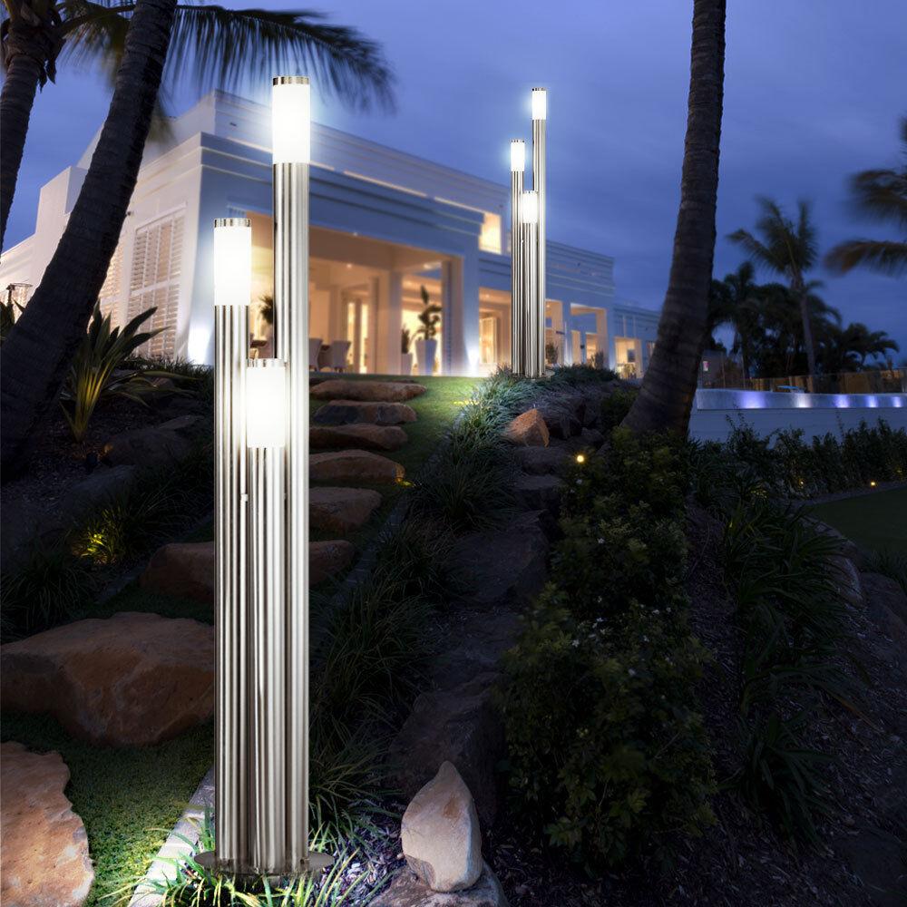 Conjunto de 2 nuevo Pedestal Luz Iluminación Vía de jardín de área al aire libre de acero inoxidable