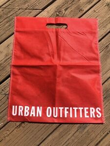 New-Urban-Outfitters-Red-White-Logos-Reusable-Shopping-Tote-Gift-Bag-14-5W-x-18H