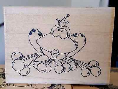Woodblock Rubber Stamps Art -  Frog Kiss 3.5 x 2.5 inches