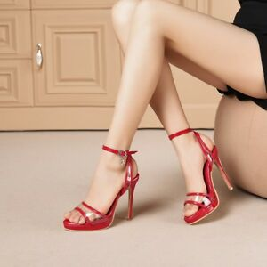 STYLISH Women Sandals Ankle Straps Clear High Heels Sandals Shoes Big Size 3-20