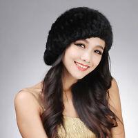Real Knitted Mink Fur beret Hat Winter Warm Fur Cap Women Beanie Hats 18164
