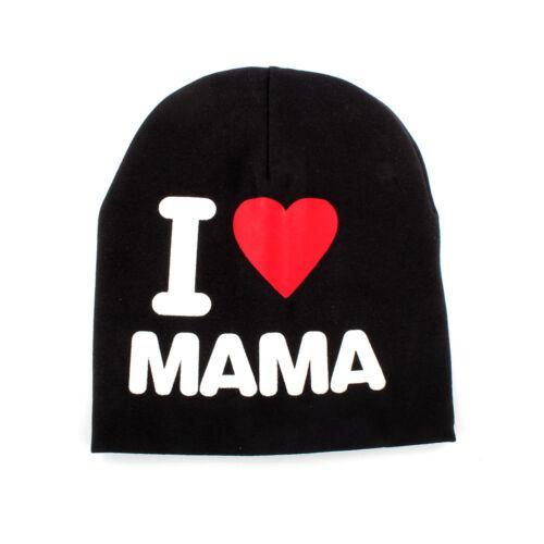 Bébé Beanies Garçons Tricot Chapeaux Printemps I Love Maman Papa Enfant Chapeau 3 Couleurs
