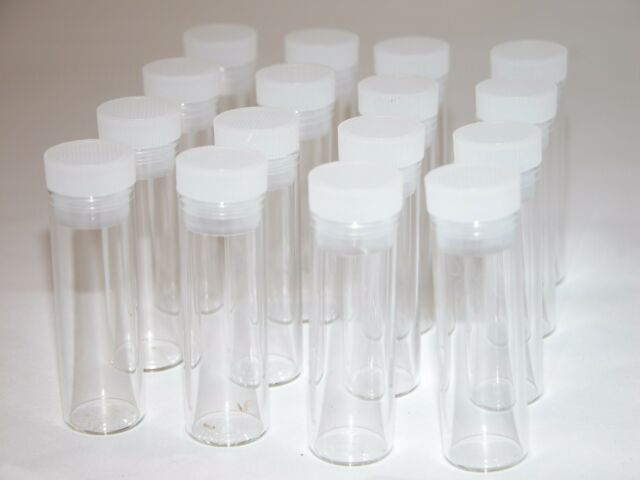 14 NEW vials w/caps,short test tube / culture tube 7 mL flat bottom 15x45 mm