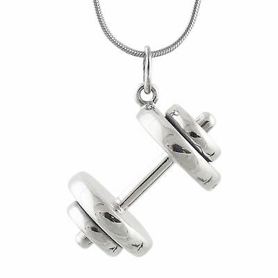 Dumbbell Weight Necklace 925 Sterling Silver Pendant Gym Workout Fitness Gift